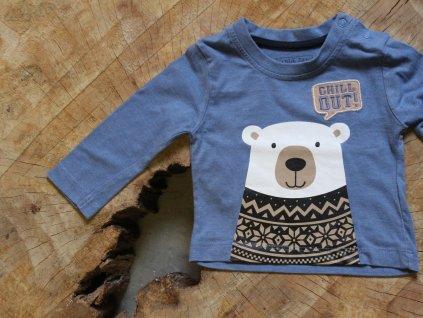 modré tričko s dl.rukávem s medvídkem Early days 3-6M
