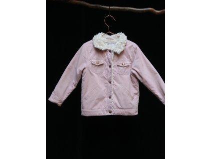 růžová přechodová bunda z manšestru, H&M 5-6Y