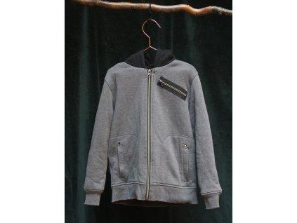zateplená šedočerná mikina na zip BC Clothing 7-8Y