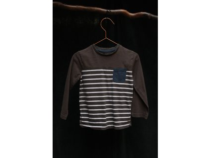 proužek khaki tričko dl.rukáv Mini V 3-4Y