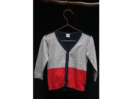 šedo-červeno-modrý propínací svetřík H&M 12-18M