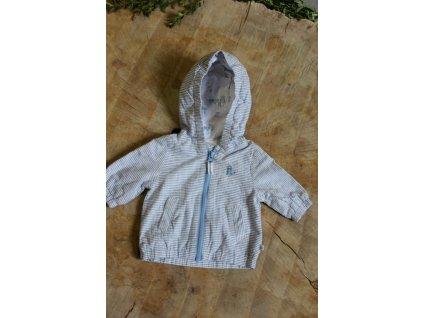 jarní modro-bílá bundička s kapucí Next 0-3M