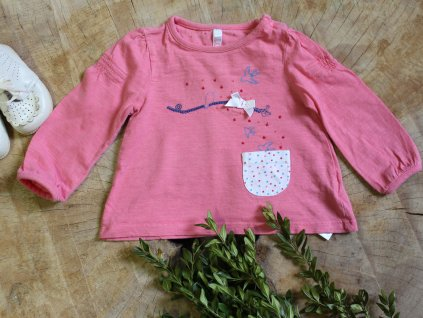 růžové tričko s ptáčky a kapsičkou Mothercare 3-6M