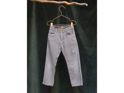šedo-modré manšestrové kalhoty H&M 116