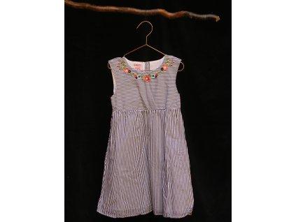 modro-bílé proužkované šaty bez rukáv Tchibo 122-128