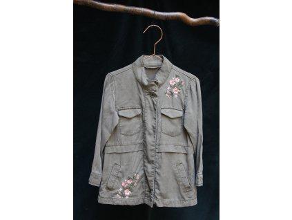 lehká viskozová khaki bundička/ sako s výšivkou 104-110