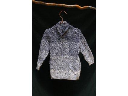 modro-šedý proužkovaný svetr do V George 4-5Y