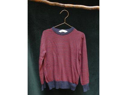 modro-červený proužkovaný svetr H&M 6-8Y