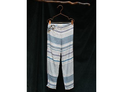 bílé viskozové kalhoty s modrými vzorky ZARA 9-10Y