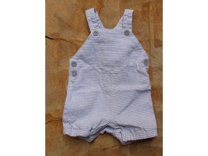 letní kraťasy s laclem bavlna/ len bílo-šedý proužek TU 56-62