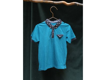 bavlněné petrolejové tričko Matalan s límečkem 4-5Y