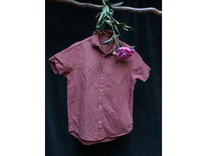 skořicová lněná košile 6-7Y