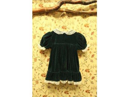 slavnostní tmavě zelené šaty s krajkou a perličkami BHS 68