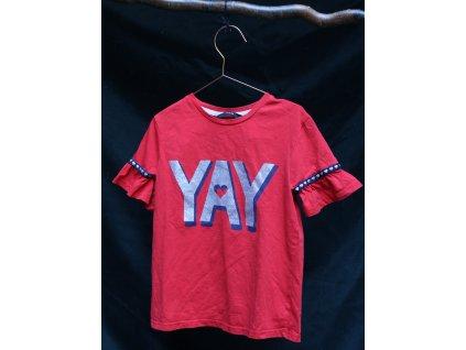 červené tričko YAY s volánkovými rukávy George 6-7Y