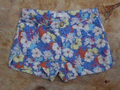 modré bavlněné květované kraťasy Zara Girl 6-7Y