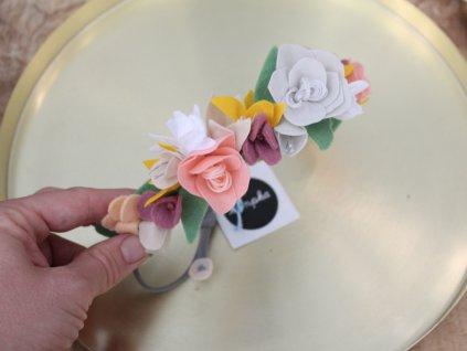 Květinová čelenka Lumpka bílo-lososová