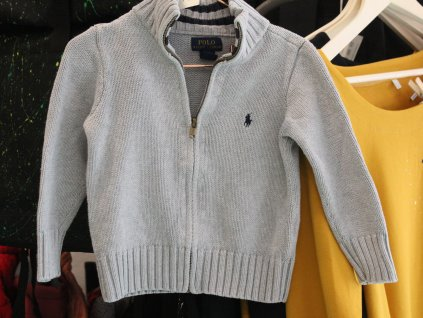šedý zapínací svetr Ralph Lauren 2-3Y
