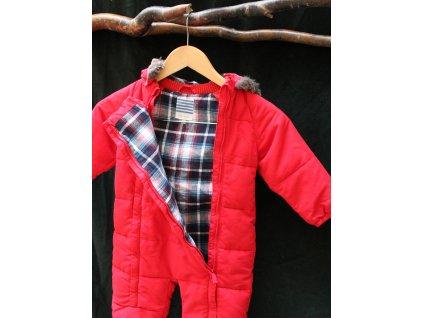 červená kombinéza s kapucí s kožíškem John Lewis 12-18M