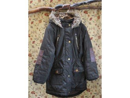 khaki zimní parka s kapucí s kožíškem TU 9-10Y