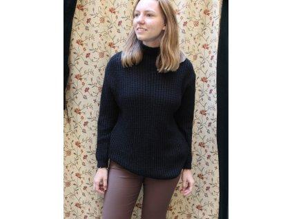 hřejivý heboučký černý svetr s vlnou a alpakou