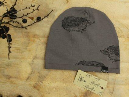 čepice šedo fialová ježci Šimido
