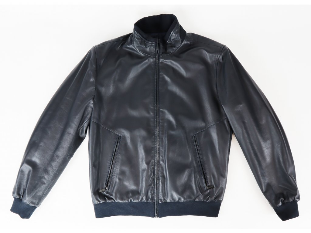Pánská modrá oboustranná bunda, kombinace jehněčí kůže/polyester