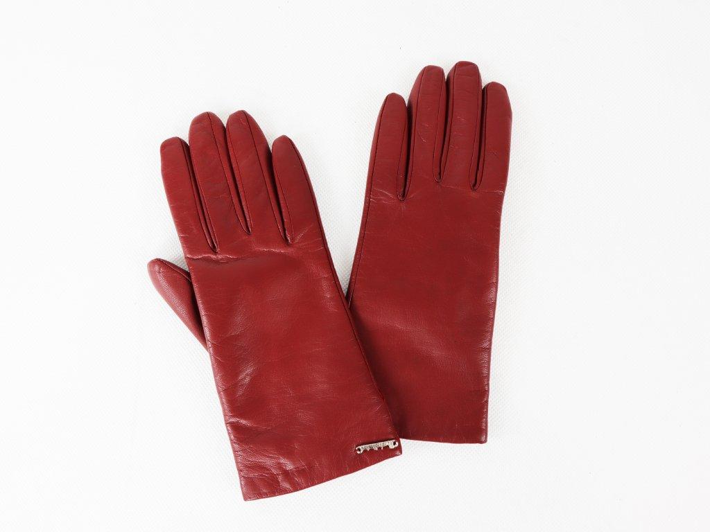 Dámské červené rukavice (kůže/vlna)