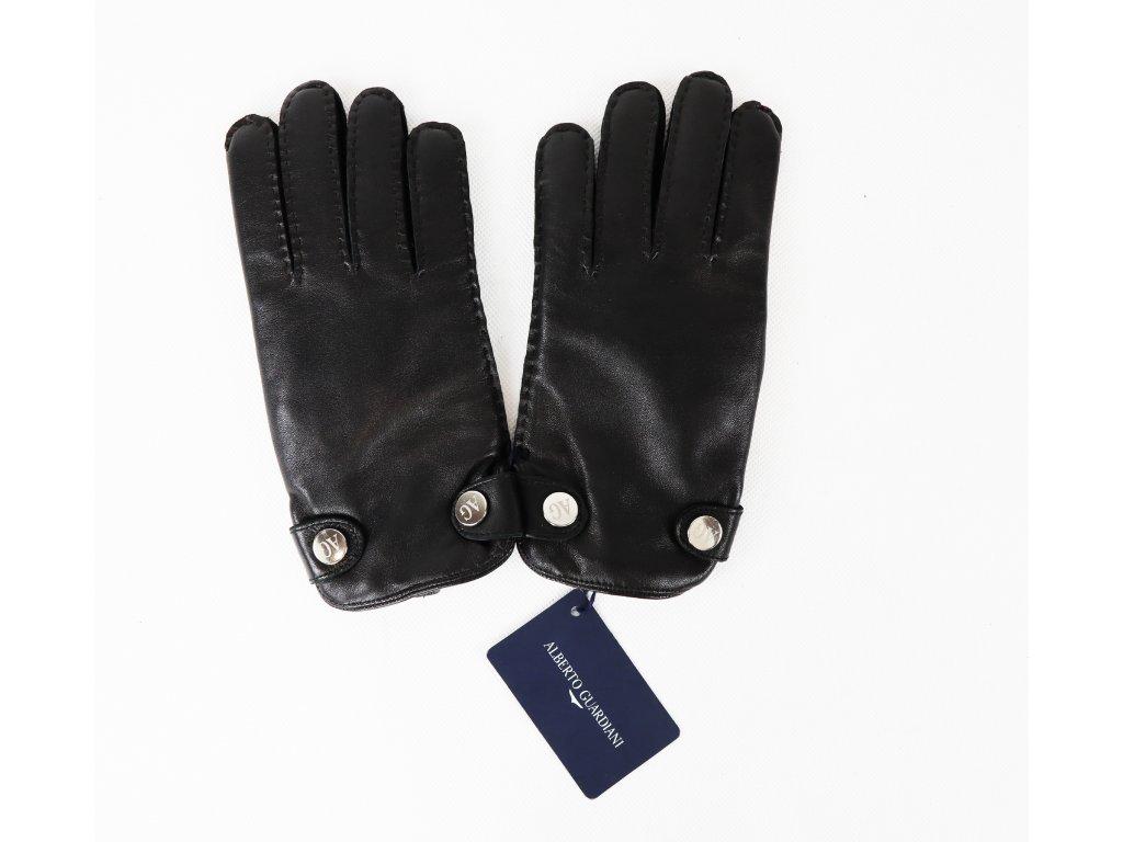 Pánské černé rukavice (kůže/kašmír)