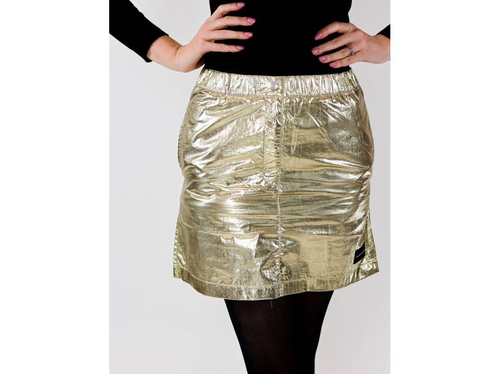 Dámská zlatá mini sukně s logem