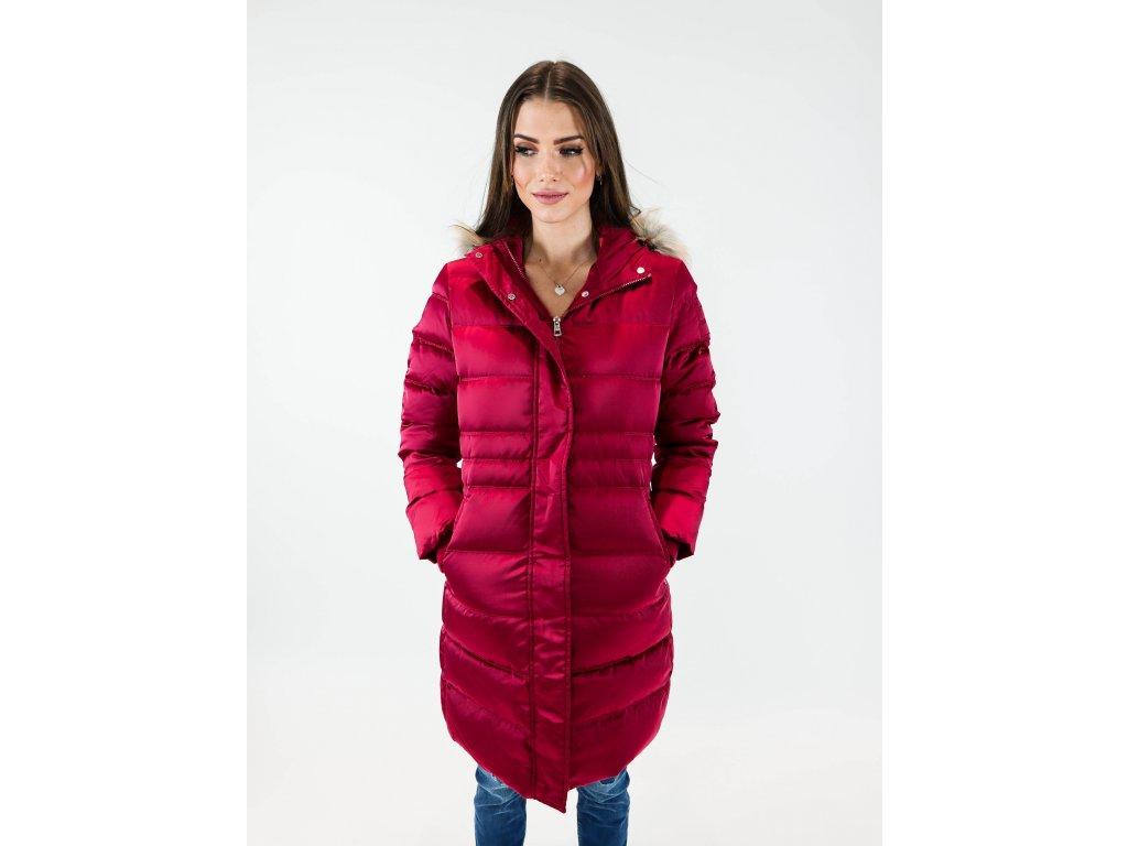 Dámská péřová bunda s límcem a kapucí