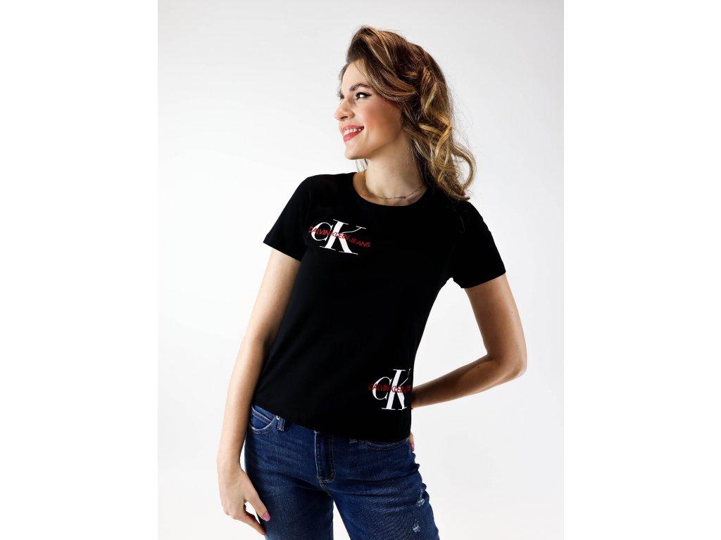 Dámské černé straight fit triko s logy