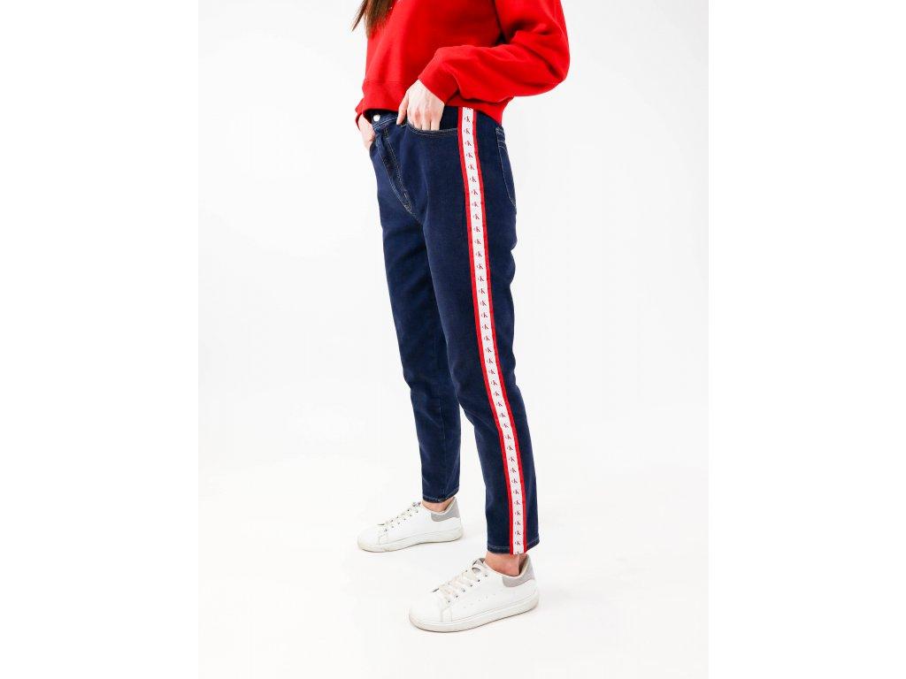 Dámské jeans s vysokým pasem a logem na boku