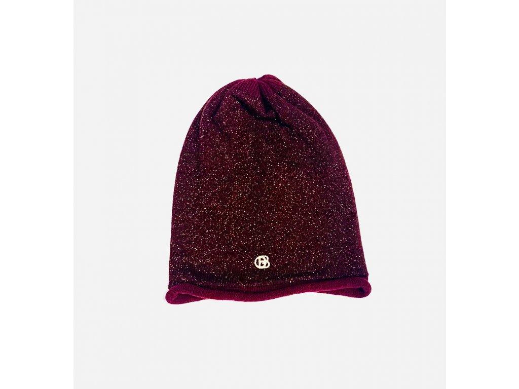 Dámská červená čepice se zlatým třpytem, malé logo GB (Gimmy Baldinini)