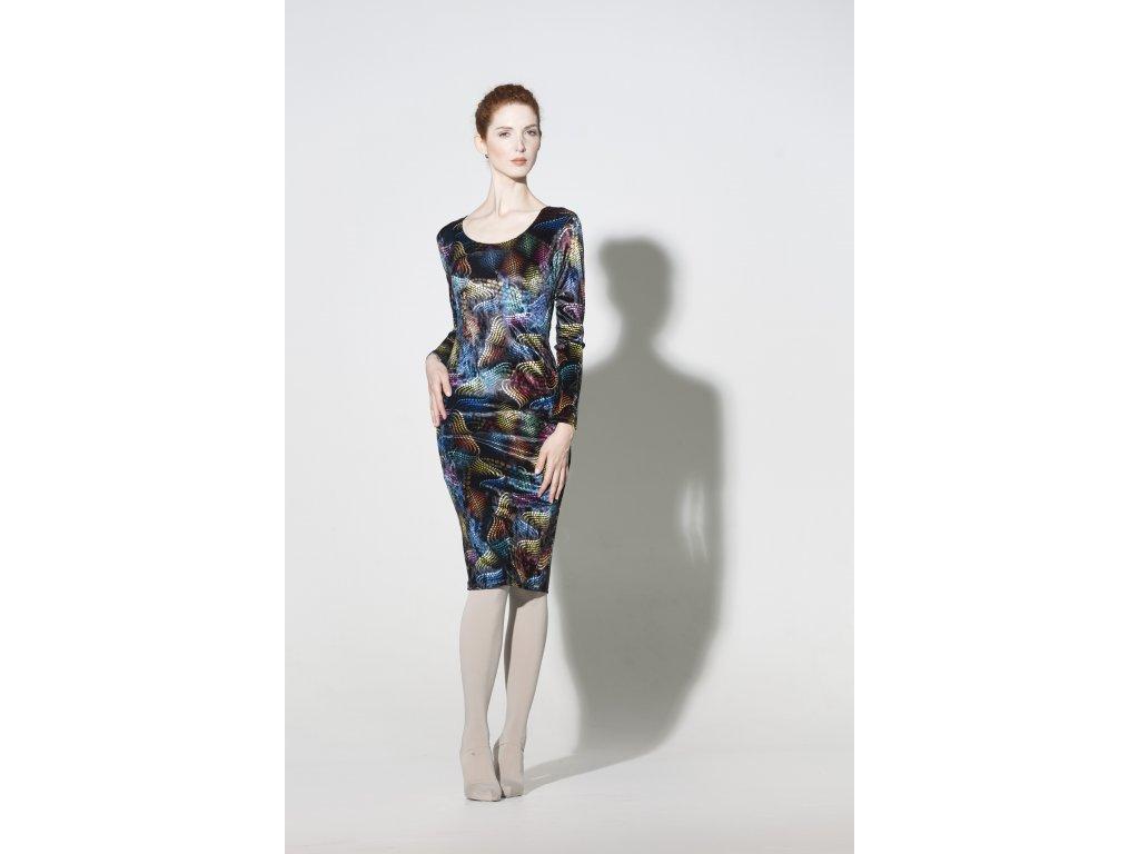 Sametové barevné midi šaty MATRIX