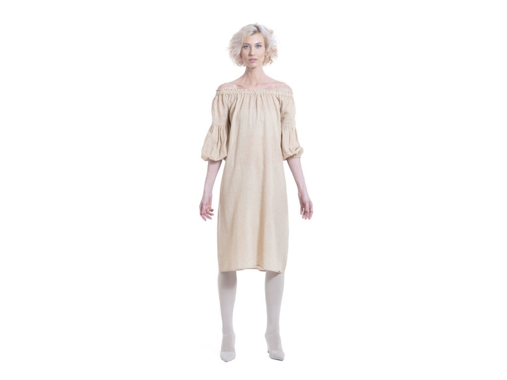 Lněné šaty  ležérneho střihu s rukávy  v 3/4 délce