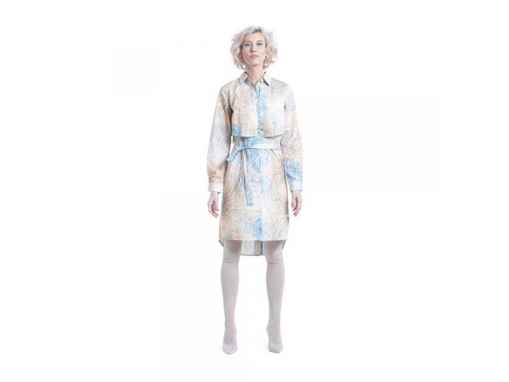 Krátké bavlněné šaty/plášť s páskem a potiskem INTEGRITY
