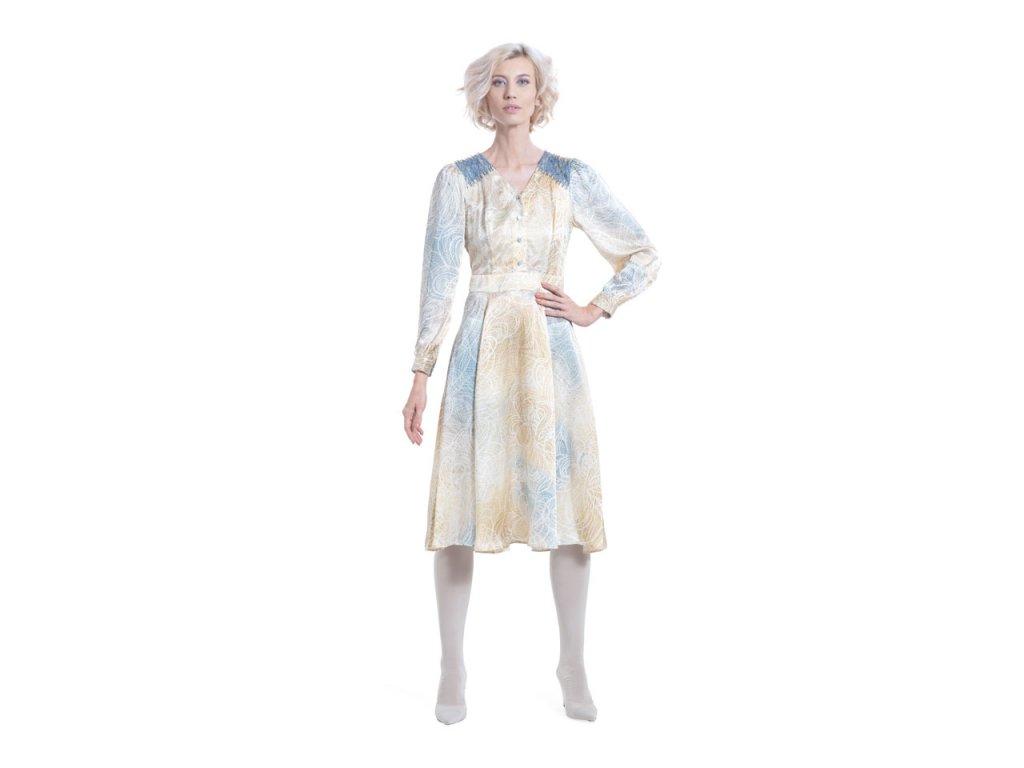 Hedvábné šaty áčkového střihu s dlouhými rukávy a potiskem INTEGRITY