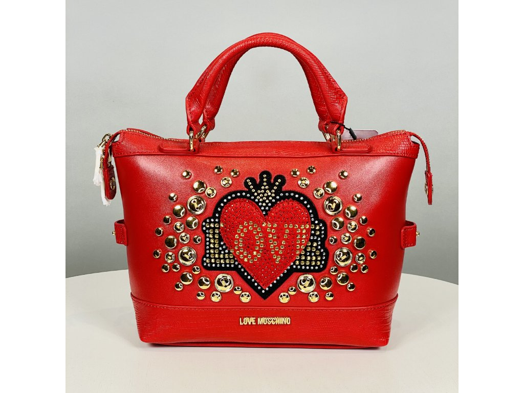 Červená kabelka Love Moschino se zlatýma cvočkama