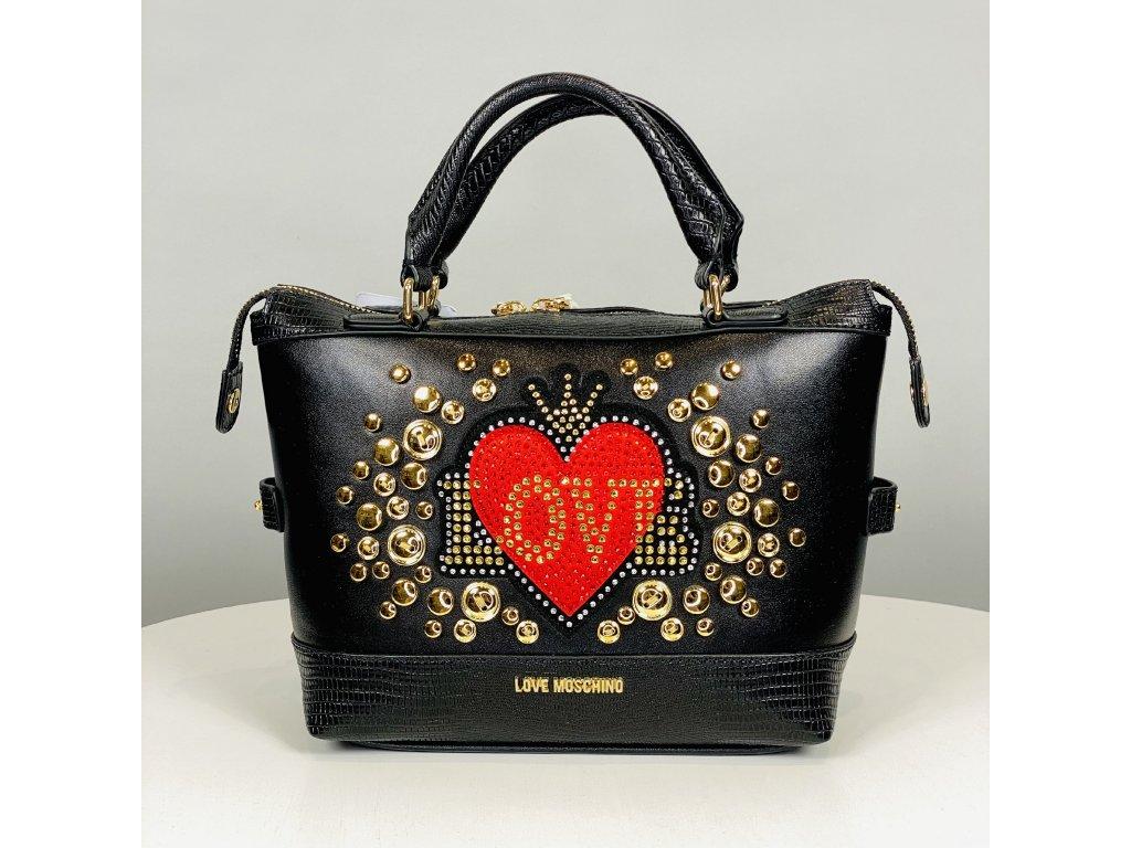 Černá kabelka Love Moschino se zlatými cvočky