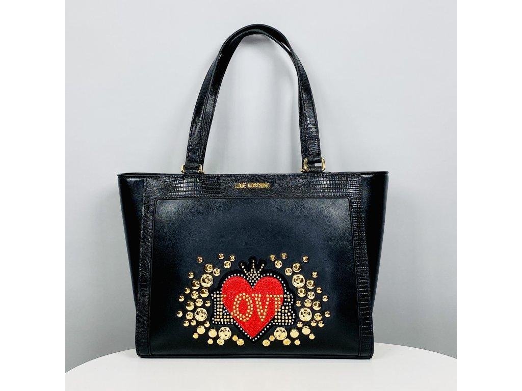 Černá kabelka Love Moschino se zlatočerveným vzorem