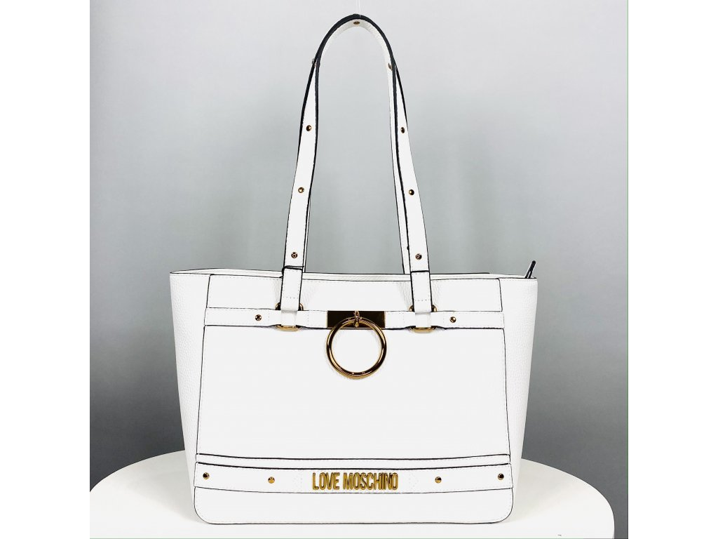 Velká bílá kabelka Love Moschino se zlatou klipsou
