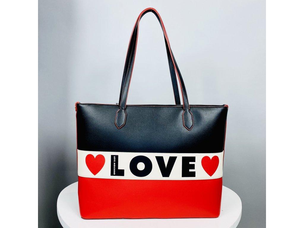 Shopper kabelka černo-červená Love Moschino