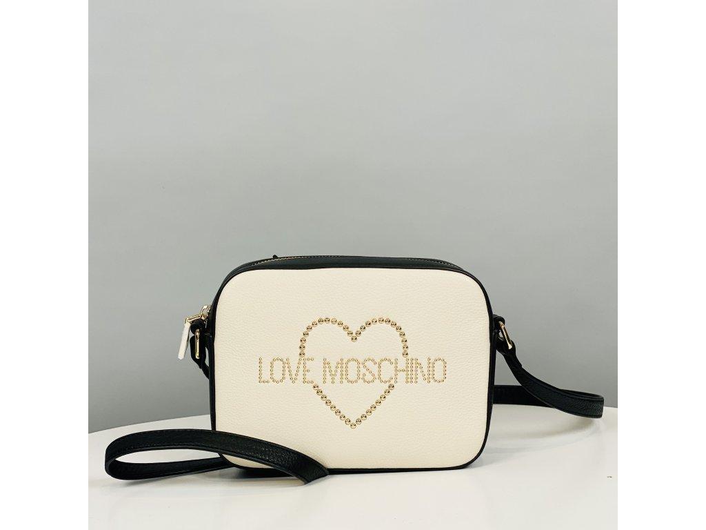 Malá, bíločerná kabelka Love Moschino přes rameno