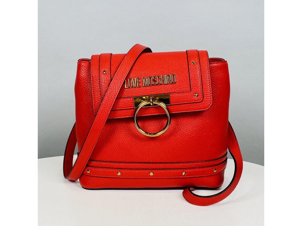 Červený batoh Love Moschino se sponou