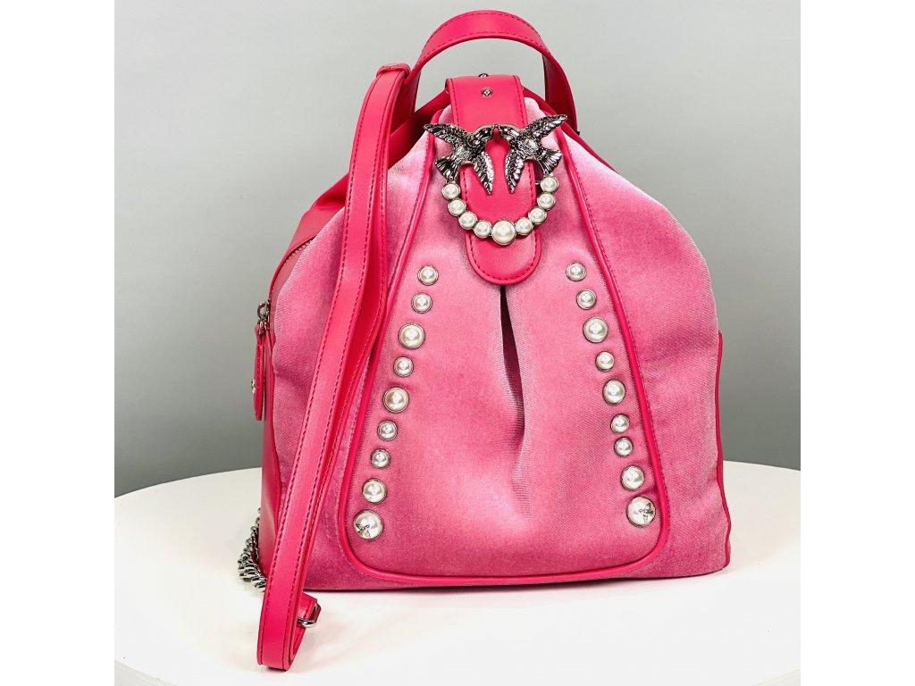 Kožený růžový batoh PINKO s perličkami