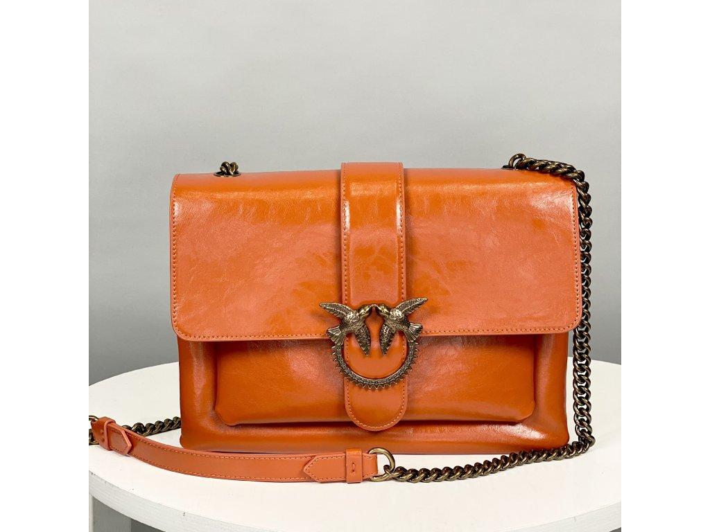 Kožená oranžová kabelka PINKO přes rameno