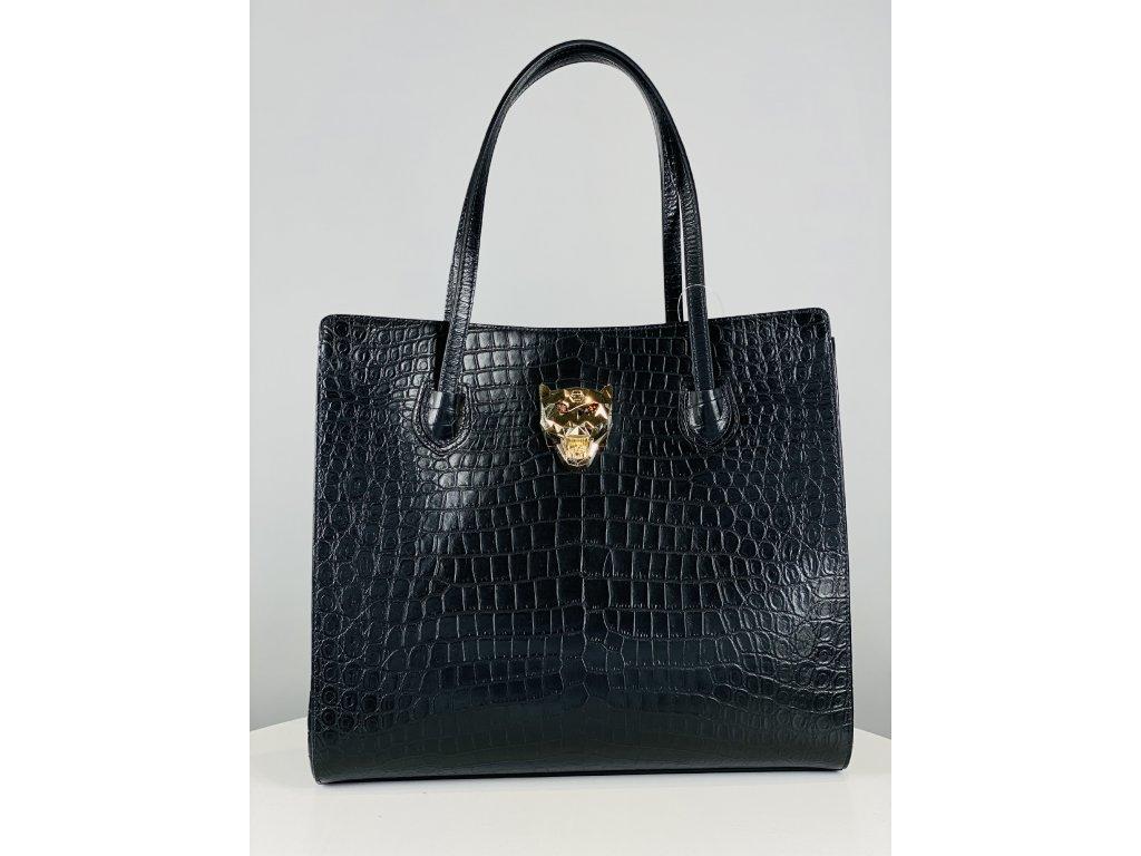 Černá, croco, matná, kožená kabelka Philipp Plein se zlatou kočkou vepředu