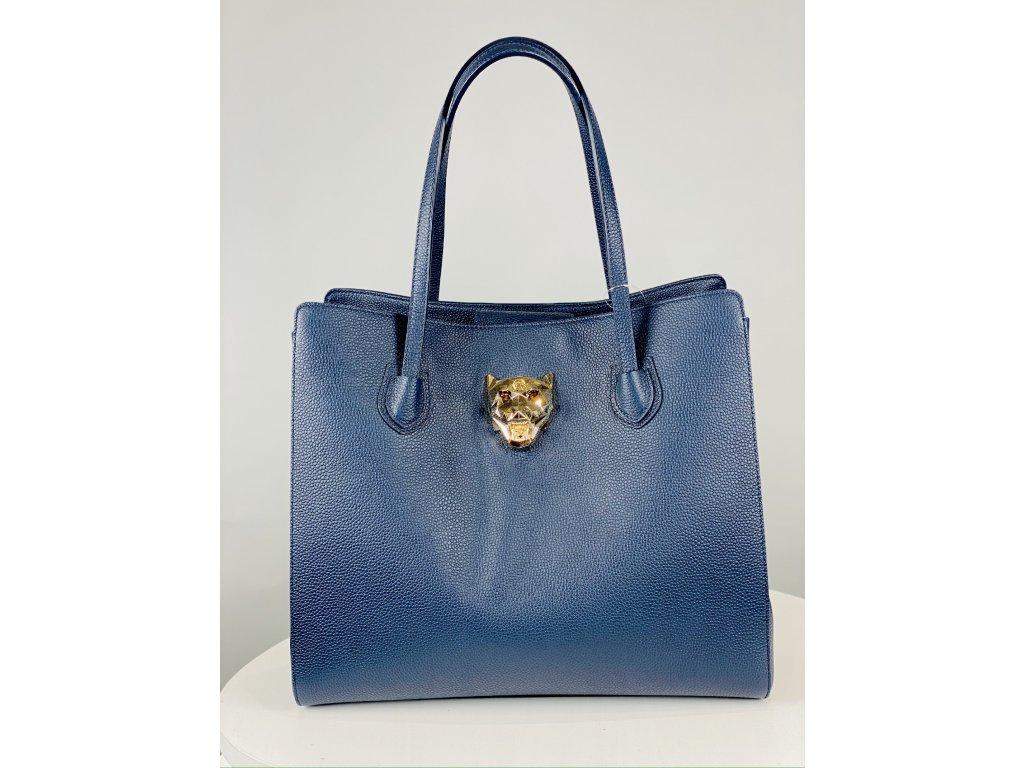 Tmavě modrá, matná, kožená kabelka Philipp Plein se zlatou kočkou vepředu