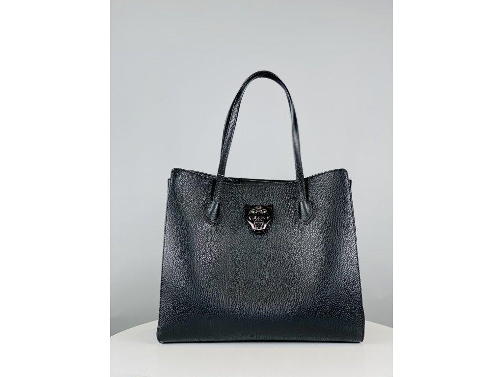 Černá, kožená kabelka Philipp Plein s černou kočkou vepředu