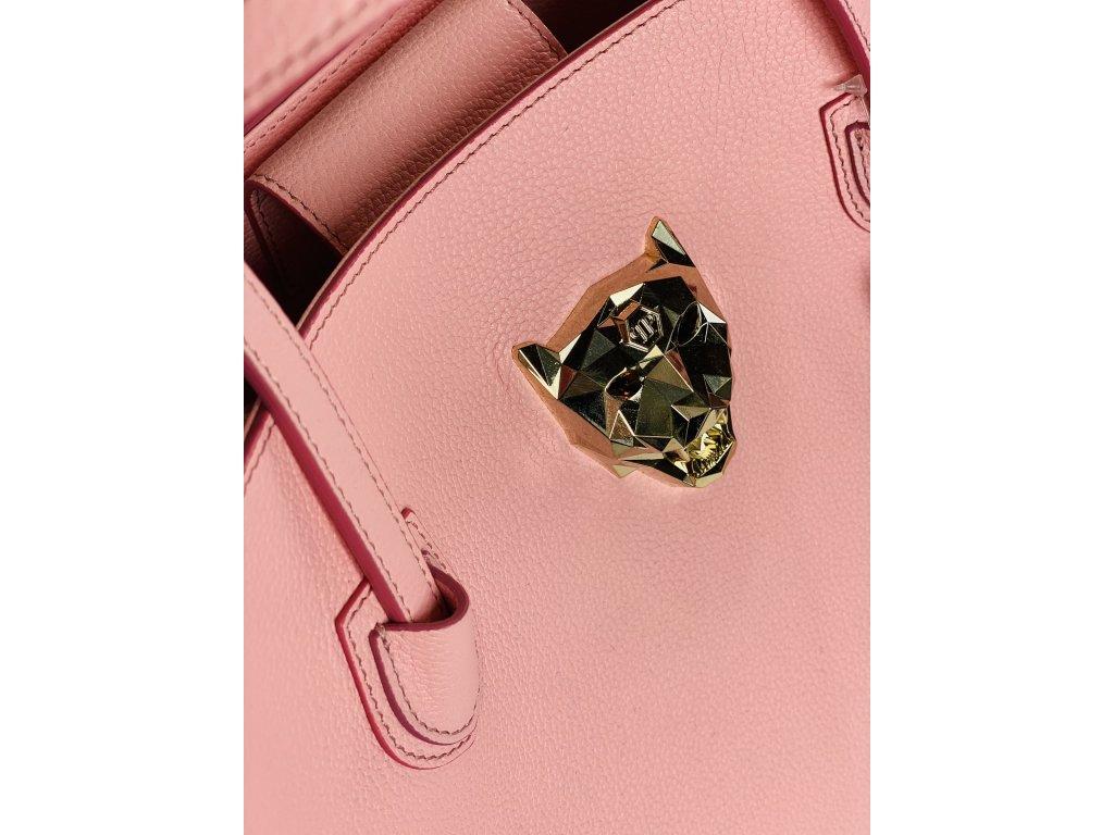 Růžová, kožená kabelka Philipp Plein se zlatou kočkou vepředu